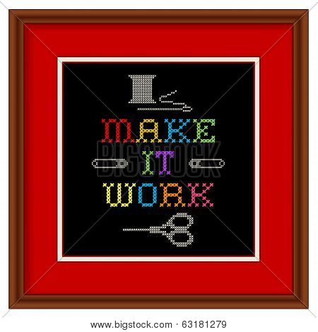 Embroidery, Make It Work Cross Stitch In Wood Frame