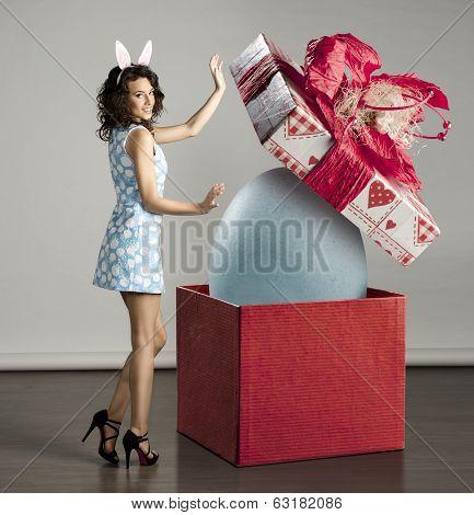 Smiling Woman Near Easter Big Box