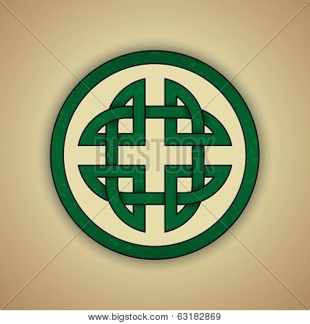Celtic Knot Symbol of Strength. Vector illustration of green celtic knot with slight grunge texture