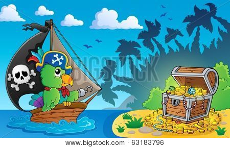 Pirate theme with treasure chest 4 - eps10 vector illustration.