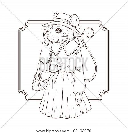 Fashion Illustration Of Mouse, Black And White Line