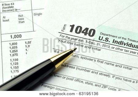 closeup of us tax forms