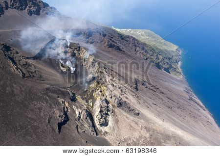 stromboli volcano activity from above
