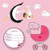 Stork flying with Asian newborn baby girl.Baby shower card,invitation,scrapbook  with label,copy space,baby carriage in polka dot background.Vector Illustration. poster