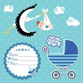 Stork flying with European newborn baby boy.Baby shower card,invitation,scrapbook  with label,copy space,baby carriage in polka dot background.Vector Illustration. poster