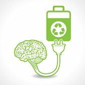 creative brain Idea symbol charged by a eco battery stock vector poster