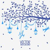 Vector silhouette of a tree branch with lanterns and airplanes poster
