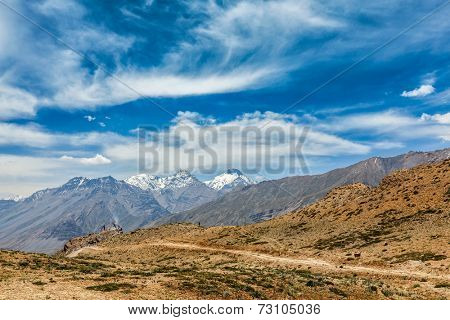 Himalayan landscape of Spiti valley. Himachal Pradesh, India