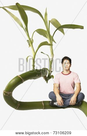 Young man meditating on a giant plant