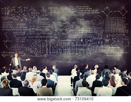 Diverse Business People on a Conference About Equations poster