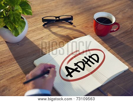 Hand with a Note and a Single Word ADHD