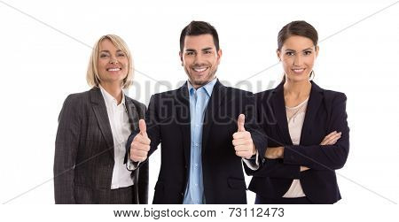 Gender equality: one man with two business woman isolated over white.