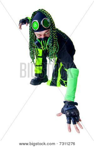 Cyber Goth guy with the green dreadlocks posing like a spiderman. isolated on white poster