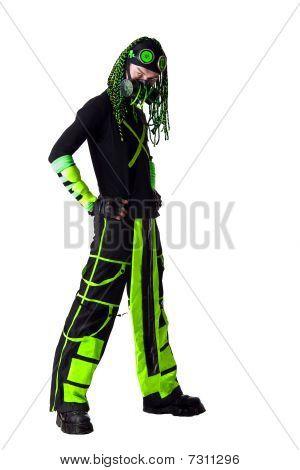 Cyber Goth Guy With Green Dreadlocks