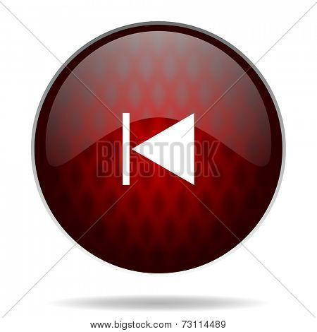 prev red glossy web icon on white background