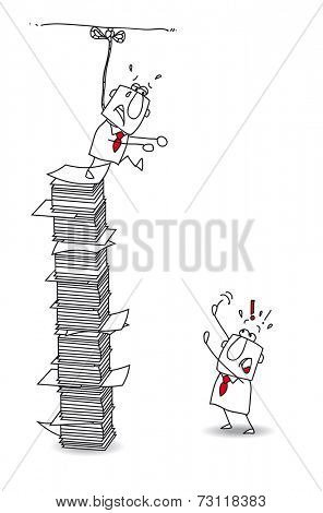 Suicidal tendences.This businessman is in burnout. he want to commit suicide. Don't jump of the paper stack