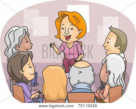 Illustration Featuring a Group of Senior Citizens in a Counseling Session