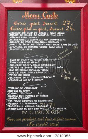 Restaurant Menu Board Written In French