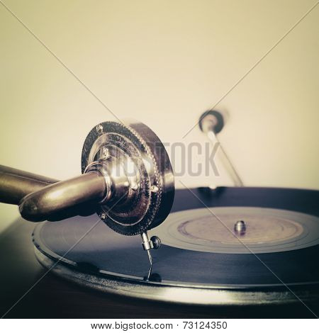 Vintage old record player gramophone needle on record