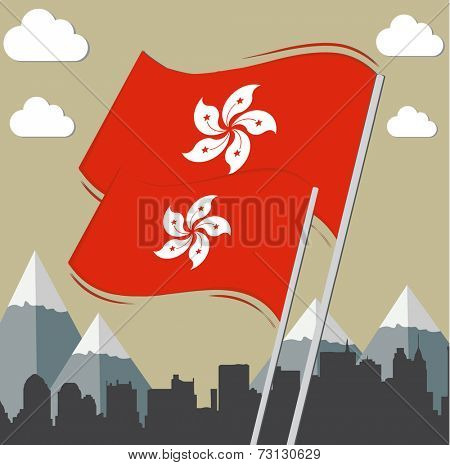 flags of Hong Kong with city background