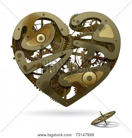 Vector image of a broken rusty clockwork heart on the white background with a pinion. Unrequited love symbol