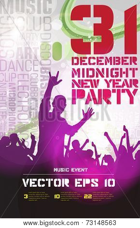 Concert crowd in front of stage. Party poster, vector illustration