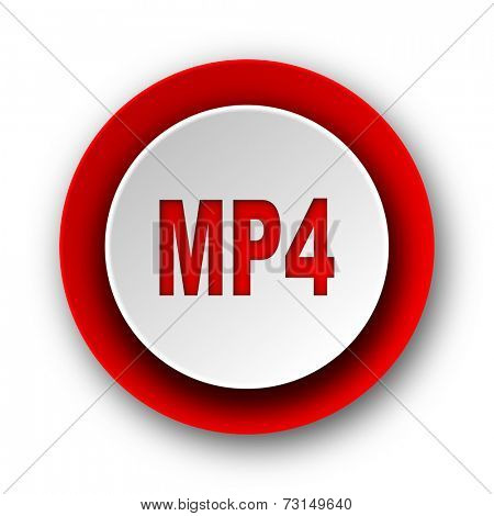 mp4 red modern web icon on white background