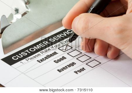 Excellent experience checkbox in customer service survey form poster