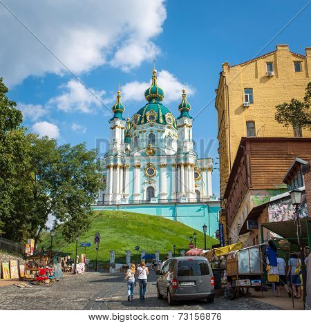 UKRAINE, KYIV - 10 Aug, 2014: Saint Andrew orthodox church is a major Baroque church in Kyiv, Ukraine. The church was constructed in 1747-1754 by Italian architect Bartolomeo Rastrelli