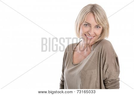 Beautiful middle aged blond attractive isolated woman smiling with white teeth. poster