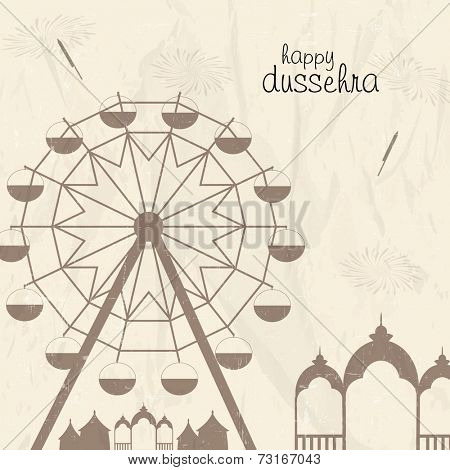 Illustration of a swing with temples, crackers and stylish text on grungy background.