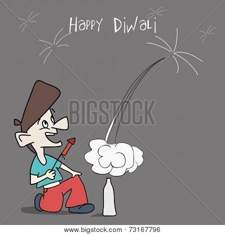 Kiddish background with a boy exploxing crackers on grey background for Happy Diwali celebrations.