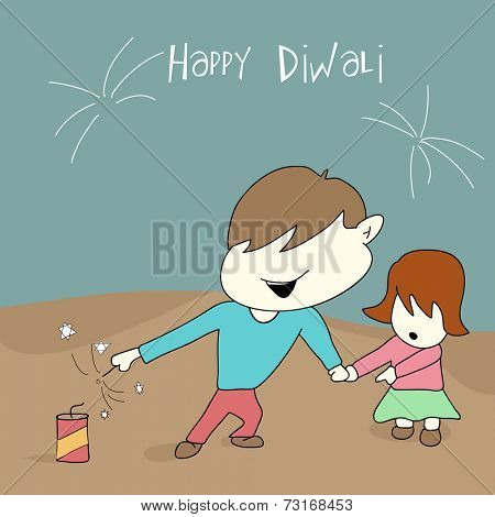 Little cute kids playing with crackers on diwali celebration with beautiful text on blue and brown background.