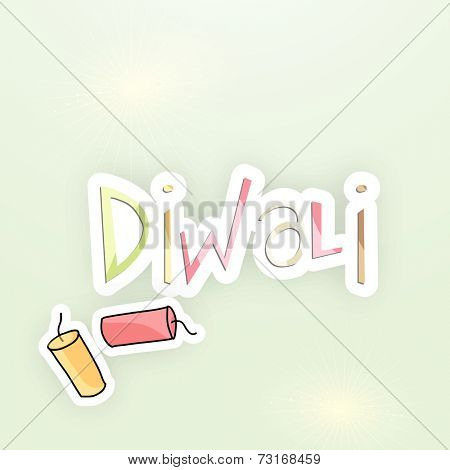 Stylish colorful text Diwali with firecrackers on occasion of Indian festival Diwali.