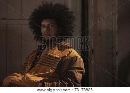 African American male breakdancer with afro