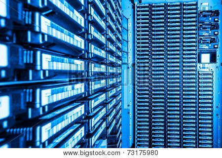 storage tapes in internet data center room poster