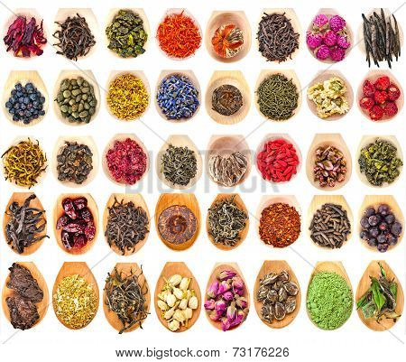 Collection Set of Tea Leaves and Fruit Berry Flower Additives in spoon scoop, isolated on white background