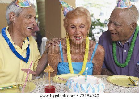 Senior woman celebrating birthday
