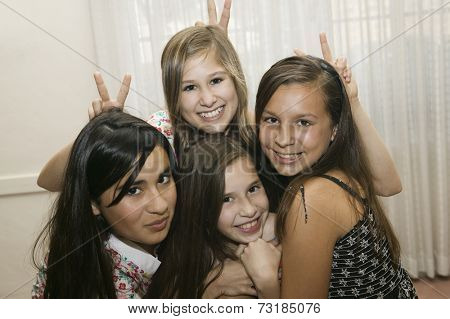Multi-ethnic girls being silly