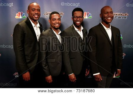 NEW YORK-SEP 17: Musical group Sons of Serendip attend the post-show red carpet of America's Got Talent: The Finale Season 9 at Radio City Music Hall on September 17, 2014 in New York City.
