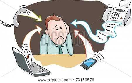 Office worker, businessman - burnout by information overload by electronic devices - smart-phone, telephone, fax, e-mail. Vector illustration