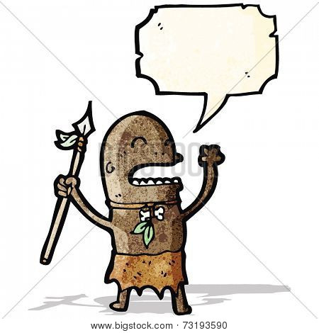 cartoon angry tribesman