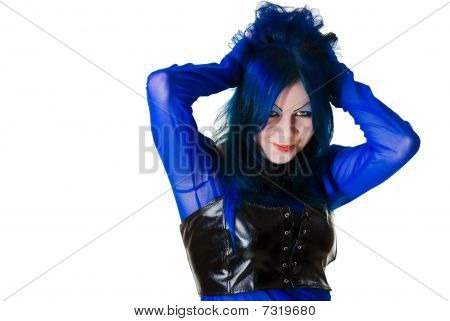 Smiling Cyber Goth Girl Looks At Camera