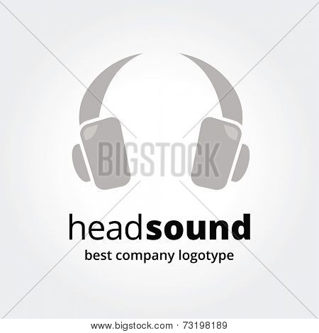 Abstract vector  head phones logotype concept isolated on white background. Key ideas is business, music, headphones, communication, talk, studio. Concept for corporate identity and branding