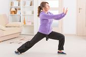 Beautiful woman doing qi gong tai chi exercise at home poster