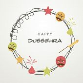 Illustration of Happy Dussehra text in a frame surrounded by funny faces; stars and fireworks. poster