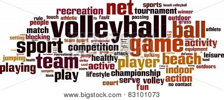 Volleyball Word Cloud Concept. Isolated on White poster
