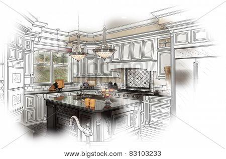 Beautiful Custom Kitchen Design Drawing and Photo Combination.