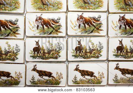 Wild Animal Motifs On Handmade Porcelain Fridge Magnets
