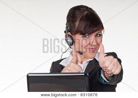 friendly operator with headphones